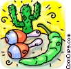 maracas, hot peppers and a cactus Vector Clip Art image