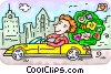 Vector Clipart illustration  of a Man driving in his car with bouquet