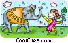 Vector Clip Art image  of an an Indian woman leading an