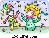 Vector Clip Art picture  of a couple dressed up for
