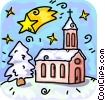 church and a shooting star Vector Clip Art graphic