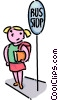 school girl waiting at the bus stop Vector Clip Art graphic