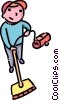 boy vacuuming Vector Clip Art graphic