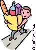 boy carrying a bag of groceries Vector Clipart illustration