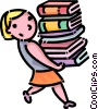Girl carrying a stack of books Vector Clip Art graphic
