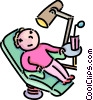 boy waiting in the dentist chair Vector Clipart graphic