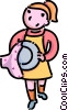 Vector Clipart graphic  of a girl drying dishes