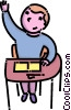 Vector Clipart picture  of a student raising his hand in
