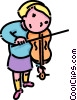 Vector Clip Art graphic  of a girl playing the violin