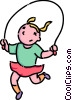 girl skipping rope Vector Clipart illustration