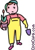 boy going to plant a flower Vector Clip Art image