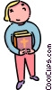 Vector Clip Art image  of a child with a bible