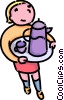 Vector Clipart illustration  of a girl carrying a tray of tea