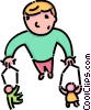 Vector Clip Art graphic  of a boy playing with puppets