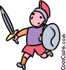 boy in a roman soldier costume Vector Clipart image