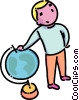 boy standing beside a globe Vector Clip Art image