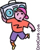 Vector Clip Art image  of a boy playing his stereo