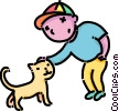 Vector Clipart illustration  of a boy petting his cat