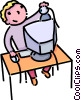 Vector Clipart graphic  of a student at a computer work