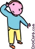 Vector Clipart picture  of a boy trying to hear something