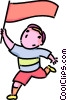 boy running with a flag Vector Clip Art graphic