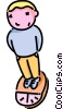 Vector Clipart image  of a boy standing on a scale