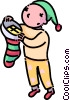 boy looking in his stocking Christmas morning Vector Clipart illustration