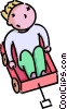 Vector Clipart graphic  of a boy sitting in his wagon