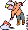 Vector Clipart graphic  of a girl shoveling snow