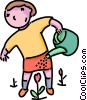Vector Clip Art picture  of a girl watering flowers