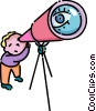 boy looking through a telescope Vector Clip Art graphic