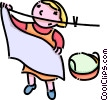 girl putting clothes on the clothes line Vector Clipart illustration