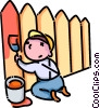 Vector Clip Art image  of a boy painting a fence