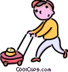 Vector Clipart image  of a boy cutting the grass