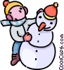 child building a snowman Vector Clip Art picture