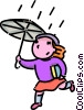 Vector Clipart picture  of a girl running in the rain