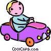 toddler playing in his toy car Vector Clipart picture