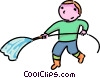 Vector Clipart graphic  of a boy with a hose