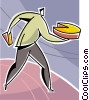 Vector Clipart illustration  of a businessman taking his piece