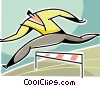 businessman jumping a hurdle Vector Clip Art image