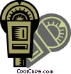 Vector Clip Art graphic  of a Parking Lots and Meters