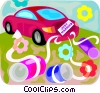 Vector Clip Art graphic  of a Just married car
