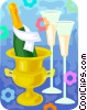 Champagne glasses and a bottle of bubbly Vector Clipart picture