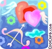 Vector Clipart graphic  of a cupid's arrow and hearts
