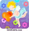 Vector Clip Art image  of a cupid with a heart