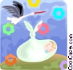 Vector Clip Art picture  of a Stork with newborn baby