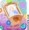 Vector Clipart graphic  of a newborn baby in a cradle