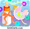Vector Clip Art image  of a Baby bottle and a bib