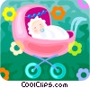newborn baby in a stroller Vector Clipart illustration