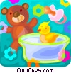 Vector Clip Art graphic  of a Teddy bear and a rubber duck